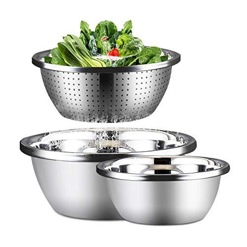 Zorara Nudelsieb,Edelstahl Sieb und Rührschüssel,Küchensieb,Salatschüssel Stapelbar Salat Schüssel mit Sieb Set 3-Teilig Edelstahl Rührschüsseln (22 * 24 * 26)