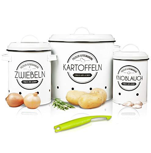 LOFTASTIC® Vorratsbehälter Set inkl. Sparschäler I Perfekt als Kartoffeltopf, Knoblauchtopf und Zwiebeltopf I Die stilvollste Art für noch länger frisches Gemüse (Weiß)