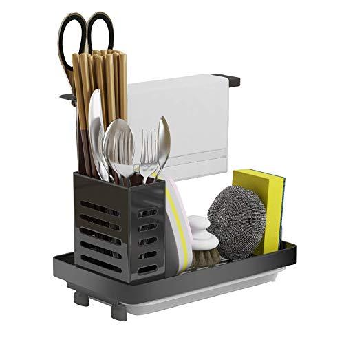 Surmounty Spülbecken Helfer Küchenutensilienhalter, 304 Edelstahl Caddy Ordnungshelfer, Spüle Organizer mit Tropfschale, Schwammhalter