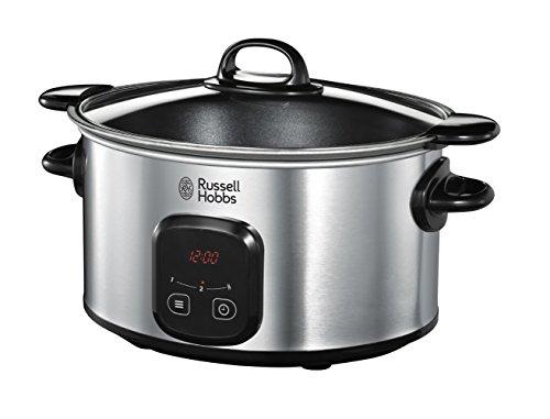 Russell Hobbs Digitaler Slow Cooker, Schongarer, einstellbare Garzeit, programmierbarer Timer, 6.0l, 3 Temperatureinstellungen, MaxiCook Slowcooker 22750-56