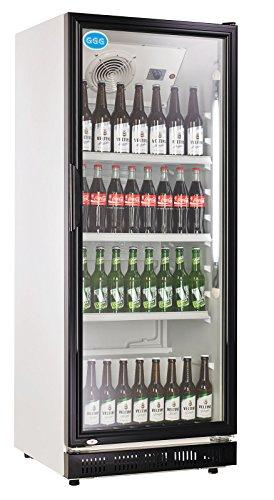 wDesigns Gastro Kühlschrank Flaschenkühlschrank Glastür 310 Liter 620x635x1562 schwarz