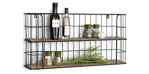LIFA LIVING Vintage Wandregal aus Holz und Metall Schwarz mit 2 Böden-Holzregal-Natur Stil, Gewürzboard Regal 2 Etagen-Küchenregal oder Gewürzständer, 68 x 35 x 16 cm
