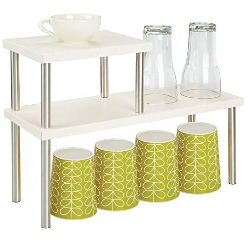 mDesign Küchenregal mit 2 Ablagen – schmales Tellerregal für Arbeitsplatten und in Schränken – zweistöckige Geschirrablage aus Metall und Edelstahl für die Küche – beige und mattsilberfarben