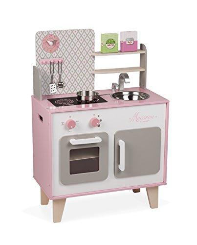 """Janod J06567 """"Macaron"""" Holzherd für Kinder, ausgestattet mit einem Kühlschrank und einer Mikrowelle, mit Ton, Fantasiespiel, mit 5-teiligem Zubehör, für Kinder ab 3 Jahren, Rosafarben und weiß"""