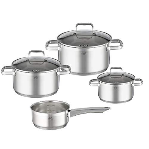 RÖSLE CHARM Topf-Set 4-tlg., hochwertiges Universaltopfset mit 3 Kochtöpfen und 1 Stielkasserolle, Edelstahl 18/10, Glasdeckel, Innenskalierung, induktionsgeeignet, spülmaschinengeeignet