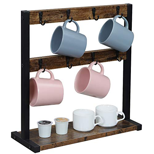 OROPY Vintage Tassenhalter mit 16 Haken, Kaffeetassenständer für Küchentheke, Tassenregal mit Aufbewahrungsboden für Henkelbecher, Kaffeepott, Kaffeekapsel, Zucker- und Kaffeedosen, 42x15x43 cm