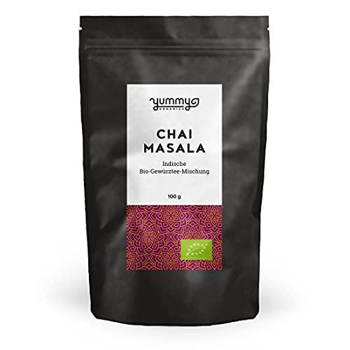 Yummy Organics Masala Chai 100 g / Bio Chai Tee Mischung für Chai Latte / Chai Gewürzmischung Fair gehandelt & Handmade
