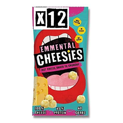 CHEESIES - Knuspriger Käse Snack. 100% Käse. Keto, Ohne Kohlenhydrate, mit hohem Proteingehalt, glutenfrei, vegetarisch. High Protein, No Carb. 12 x 20g Packungen - Geschmack: EMMENTALER