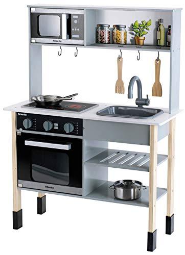Theo Klein 7199 Miele Küche I Weiße Holzküche inkl. Kochfeld mit Sound- und Licht I Maße: 70 cm x 30 cm x 91 cm   Edles Küchen-Zubehör aus Edelstahl (nicht erhitzbar) und Holz