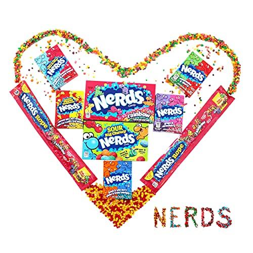 Nerds Süßigkeiten Box - Wonka Mix mit Nerds Rainbow, Nerds Sour, 2 Nerds Rope (Nerds Stangen) und 5 weitere Nerds Candy - American Candy - USA Geschenke - Amerikanische Süßigkeiten Box