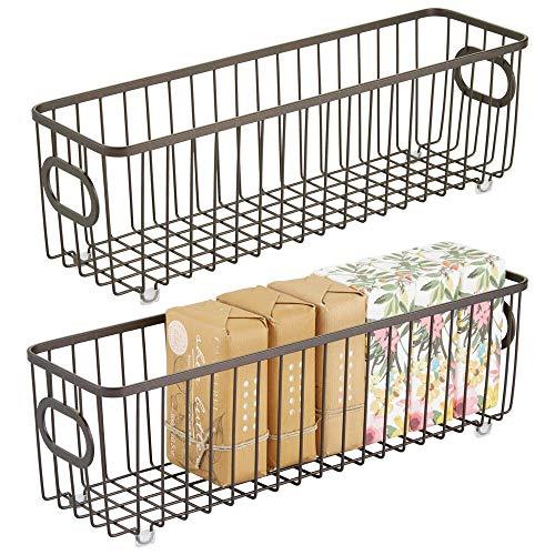 mDesign 2er-Set Metall Ablagebox mit integrierten Griffen – schmale Aufbewahrungsbox mit ansprechendem Drahtdesign – ideal zur Kosmetikaufbewahrung im Bad – bronzefarben