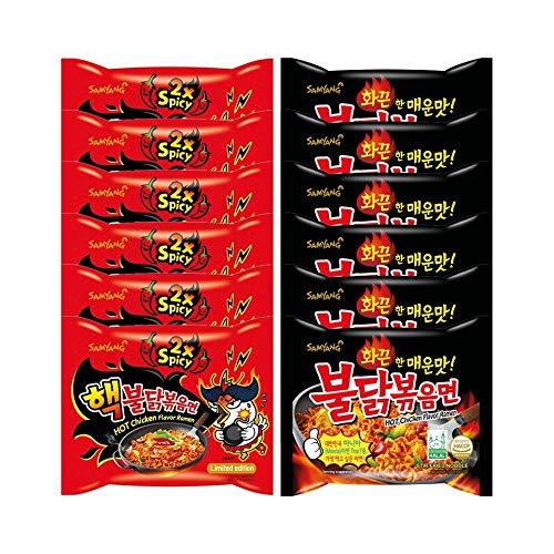 Samyang Fire Noodle Set - Hot Chicken Ramen   6 x140g Extreme DOPPEL ( Rot) , 6 x140g Original (Schwarz)   Vorteilspack 12 Portionen   inkl. 6 Paar Stäbchen