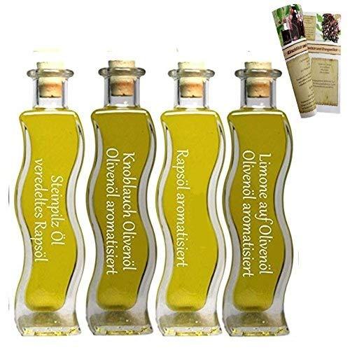 Geschenkset & Probierset | 4 x 100ml Öl | Steinpilz Öl - Olivenöl Limone - Knoblauch-Kräuter Öl - Pasta Öl | mit Rezeptbroschüre | Feinkost Set