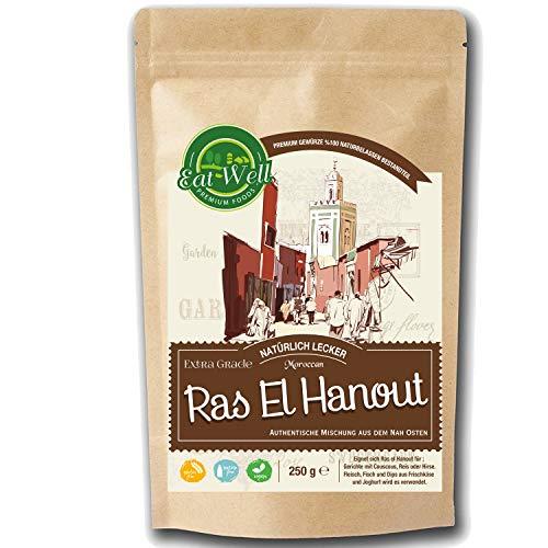 Ras El Hanout Gewürz Mischung ( 250g) | 100% Naturell - ohne Konservierungsstoffe | für Fisch, Fleisch, Geflügel, Couscous, Gemüse & Reisgerichte | Orientalisches Gewürz Pulver