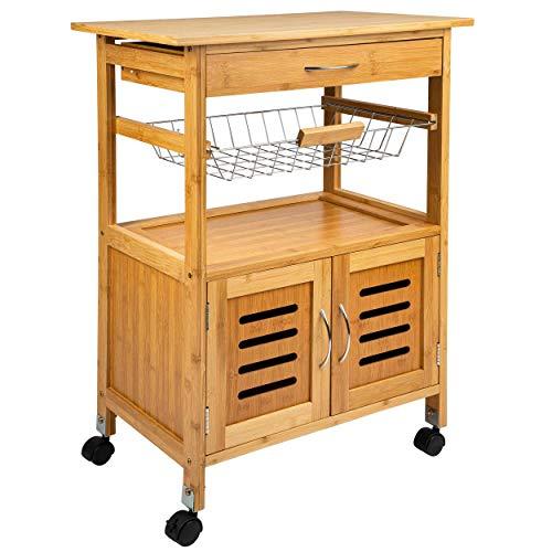 ONVAYA® Küchenwagen Tokio   Küchenrollwagen aus Holz   Weiß   Bambus   Beistellwagen mit Rollen (Bambus Küchenwagen)