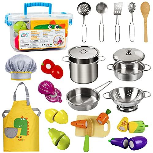 EFO SHM Kinderküche Zubehör Holz Lebensmittel Spielküche Edelstahl Kochset Kinderspielzeug Töpfe Puppenküche Zubehör Hölzernes Küche Spielzeug für Kleinkinder Jungen Mädchen