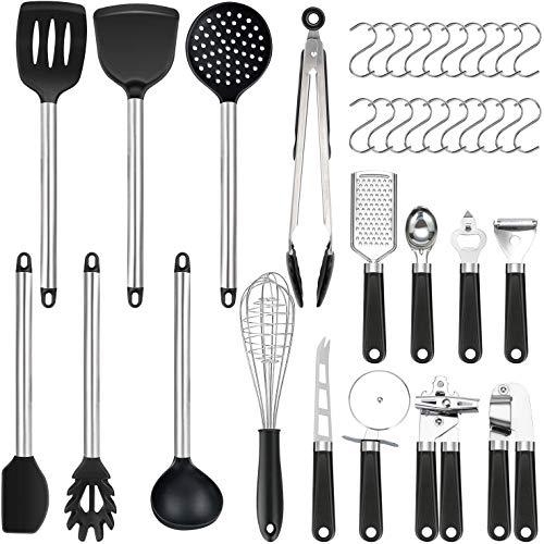 Vemingo 36er Küchenhelfer Küchenutensilien Set | Silikon Antihaft Hitzebeständiger Silikonspatel Set | Cooking Tools Küchenhelfer Utensilien Kochgeschirr Kitt