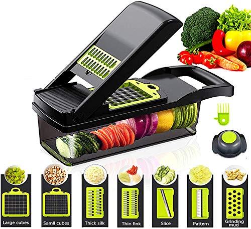 D L D Gemüseschneider Gemüsezerkleinerer Lebensmittelzerkleinerer und Würfelschneider Zwiebelschneider Zerkleinerer Gemüseschneider Kartoffel Obst Zerkleinerer (schwarz)