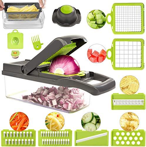 ROVE Gemüseschneider Set 11 in 1 Zwiebelschneider Salat Schneider Kartoffelschneider Hand Gemüsehobelfür Gemüsespaghetti Karotte, Gurke, Kartoffel, Kürbis, Zucchini, Zwiebel (Grau