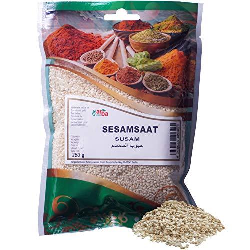 Arba Gewürze - Weißer Sesam (geschält) - helle Sesamkörner, 100% naturrein, nussig-süßes Aroma, zum Kochen, Backen, für Marinaden & für Sushi, Sesamsaat, Sesamsamen, Premium-Gewürz (250g)