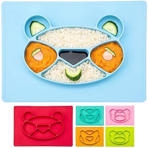 Happy Face Mat Kinder-Teller Baby Essmatte aus Silikon Essunterlage Tisch-Set Platzteller Anti-rutsch-Fester Babyteller; Panda, blau