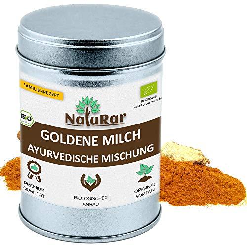 BIO Goldene Milch Gewürzmischung vom NatuRar 80g Aromadose   Original Ayurvedische Rezept   aus 100% Bio Zutaten hergestellt   Golden Milk   Kurkuma Latte   Ohne Zuckerzusatz