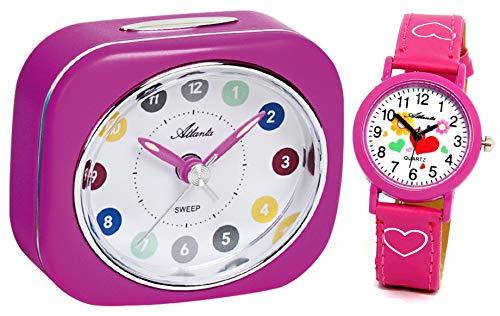 Kinderwecker Mädchen ohne Ticken Lila mit Armbanduhr Rosa - 1983-17 KAU
