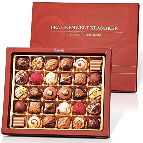 Pralinenbote – Pralinenwelt Klassiker mit 30 handgefertigten Pralinen deutscher Chocolatiers, das Pralinen Geschenk