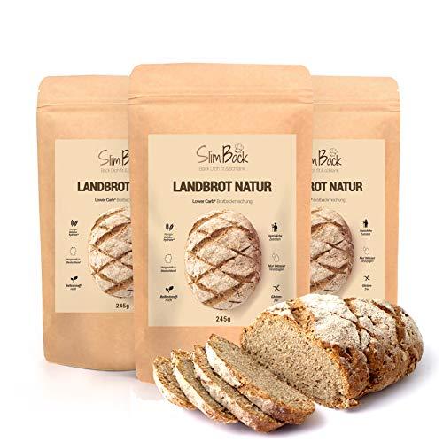 SlimBack - LOWER CARB LANDBROT - Natur - 3 x 245 g - Brot Backmischung ohne Getreide - nur 4 g Kohlenhydrate   Extra gut Bekömmlich   Eiweissbrot Glutenfrei   Keto - Paleo   Hergestellt in Deutschland