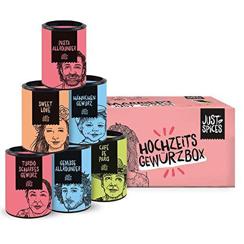 Just Spices Hochzeit Gewürzbox I 6 der besten Gewürze in einer schönen Box I Hochzeits-Geschenk für Frauen und Männer