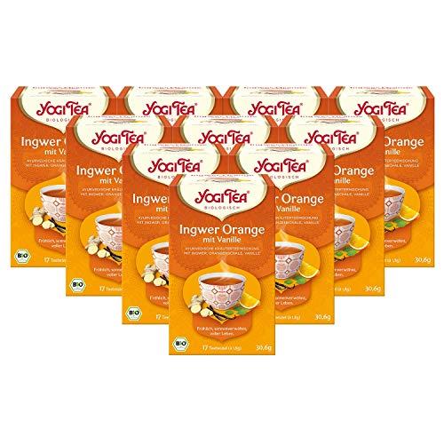 YOGI TEA® 10x Ingwer Orange Bio Yogi Tee I leckere ayurvedische Gewürz-Kräuter-Tee-Mischung - mit Ingwer Orangenschale & Vanille I 170 Tee-Beutel - Bio-Qualität I Ginger Orange Tea 10 Päckchen