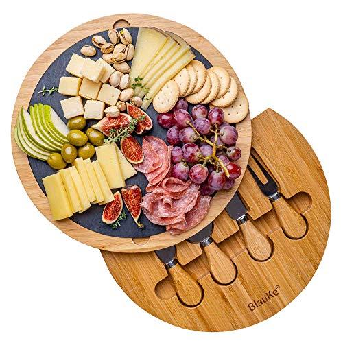Bambus Käsebrett mit Käsemesser Set und Schieferplatte – Servierplatte aus Holz für Käse und Appetithäppchen– 30cm Holz Käseplatte Drehbar – Rund Servierbrett aus Holz – Cheese Board Charcuterie Board