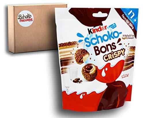 Kinder Schoko bons Crispy – Limited Edition für warme Länder – Schokobons Kinderschokolade Geschenk aus Dubai – knuspriger Waffelkeks mit Milch- und Haselnusscreme - 1er Pack (1 x 89g)