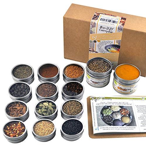 direct&friendly Bio Curry Set Geschenk DIY Gewürzset Geschenkset mit 14 verschiedenen Bio Gewürzen und Rezeptheft