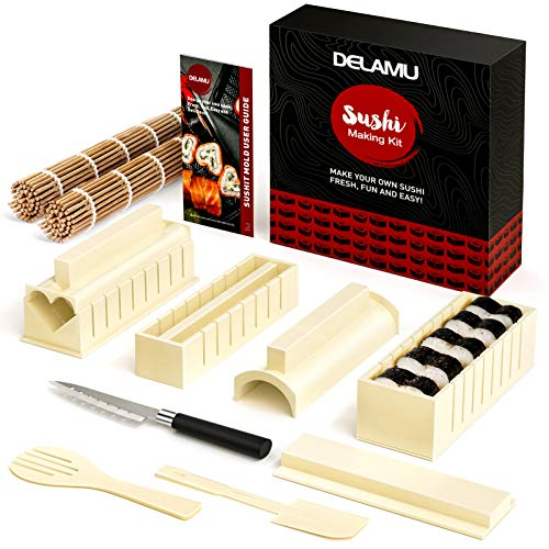 Delamu Sushi Making Kit, Sushi Maker für Anfänger, 8 Formen DIY Sushi Selbst Machen Set,13 in 1 DIY Selber Sushi Matte Set mit hochwertigem Sushi Messer