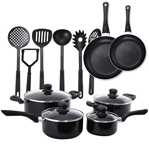 COSTWAY 16-teiliges Topfset mit Küchenutensilien, Kochtopfset Induktion, Kochgeschirr spülmaschinenfest, 4 Kochtöpfe | 2 Bratpfannen | 6 Küchenhelfern antihaftbeschichtet, schwarz