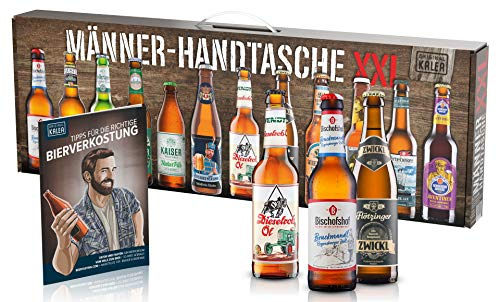 KALEA Männerhandtasche XXL, 12 Biere von Privatbrauereien aus Deutschland, Biergeschenk zum Geburtstag und für alle Männer die gerne Biere verkosten