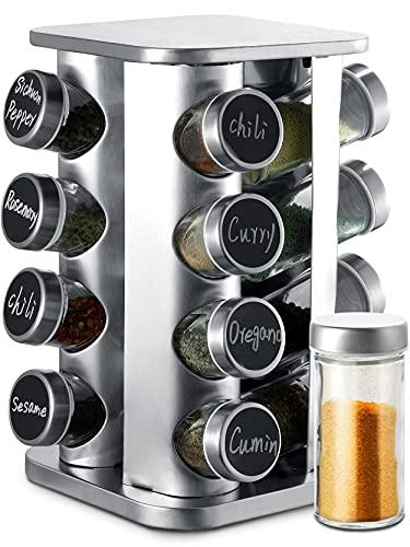 Gewürzkarussell Drehbar mit 16 Gewürzgläsern - Luftdicht - Inkl. Etiketten und Stift zum Beschriften - Gewürzaufbewahrung