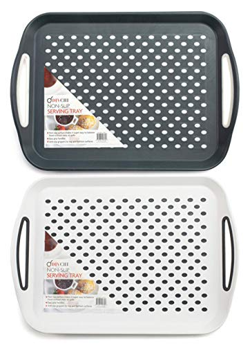Divchi 2 x Anti-Rutsch-Tablett aus Kunststoff mit rutschfester Gummioberfläche, rutschfeste Griffe, Schwarz & Weiß
