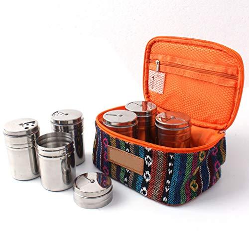 KBstore Set von 6 Gewürzgläser - Gewürzdosen aus Edelstahl Con Tragbare Beutel - Ideales Gewürzstreuer für Camping/Reisen/Im Freien/Küchen #2