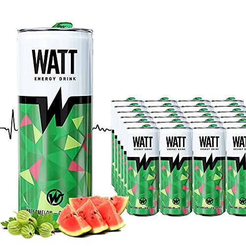 WATT Energy Drink 24 x 250 ml mit Wassermelonen-Stachelbeer Geschmack   mit Grüner Tee Extrakt   OHNE Pfand Dosen Getränke   Energy für Arbeit, Sport und Gaming
