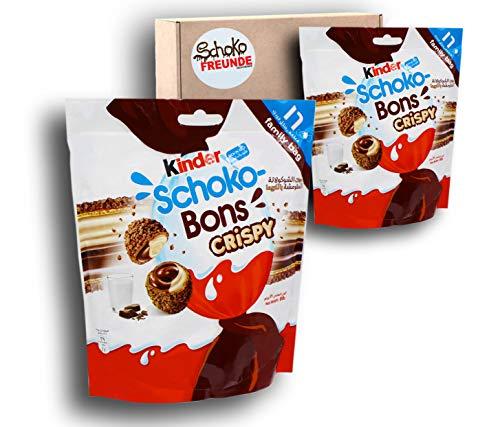 Schokobons Crispy (2 x 89g) für warme Länder - Kinderschokolade Schoko Bons Geschenk aus Dubai - luftige Waffel umhüllt von knuspriger Kakaoschicht - Schoko-Vanille Füllung - 2x Packungen je 16St.