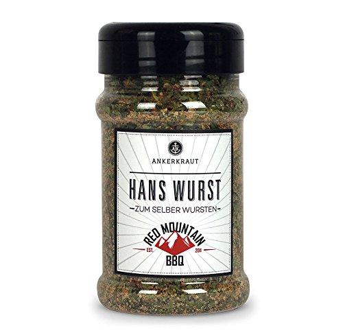 Ankerkraut Hans Wurst, Gewürzmischung zum Würstchen selber machen, bekannst durch Red Mountain BBQ, 180g im Streuer