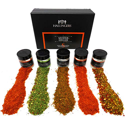 Hallingers 5er Premium-Grill-Gewürze als Geschenk-Set (95g) - Meistergriller (MiniDeluxe-Box) - zu Sommer Grillen Für Ihn