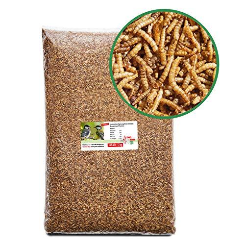 Paul´s Mühle Mehlwürmer getrocknet, Proteinreiche Würmer für Hühner, Igel, Hamster, Teichfische und Vögel, 5 kg