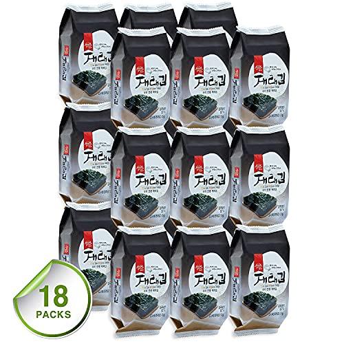 Gerösteter Algen Snack in Premiumqualität [Koreanischer Snack] knusprig geröstet und leicht gesalzen, Omega 3 Quelle, gesunder Seetang Snack, von [JRND FOODS] 18 Packungen