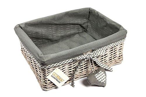 Woodluv Grey Wicker Rechteckige Aufbewahrung Geschenkkorb mit abnehmbarem Futter - groß