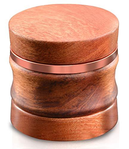 CigaMaTe Grinder Wooden Herb Grinder Kräutermühle, manuell, Holz, Rotgold, Gewürz, trockene Blätter, scharfe Handmühle, 4 Stück, Zinklegierung, 6,3 cm, große Kapazität mit Pollenfänger(Rosagold)