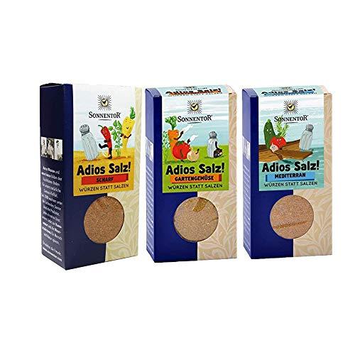 Sonnentor bio Gewürze - 3er Set Adios Salz: Gemüsemischung scharf, Gartengemüse, mediterran + YellowMedia Streudose AT-BIO-301