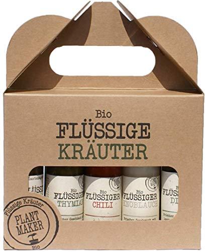 Haltbare flüssige Bio-Kräuter, 10 verschiedene Küchenkräuter für kalte und warme Speisen, 10er Set, 10 x 40 ml